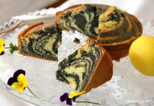 zebra cake, gâteau zébré, gâteau tigré, gâteau au citron et sésame noir