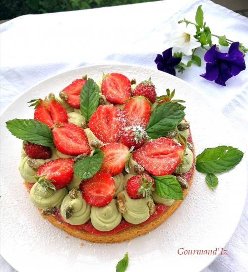 fantastik, fraises, pistache, crème pistache, confit de fraises