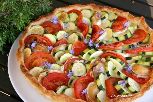 tarte, été, courgettes, tomates, chèvre