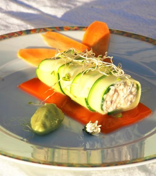 rouleau de crabe, courgettes, mandoline, glace avocat, mandarine, agrumes, carottes