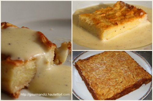 gâteau, pommes, crème anglaise