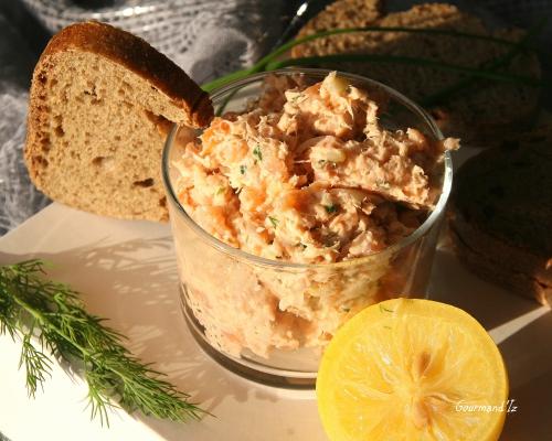 rillettes de saumon, gingembre, citron confit, recette de rillettes de saumon