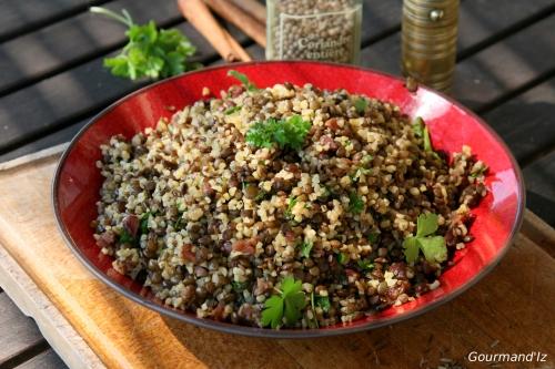 salade de lentilles, salade de boulghour, pilaf de lentilles, épices