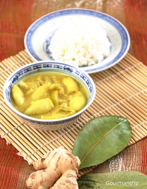 curry de calamars , citronnelle, gingembre, lait de coco, combava