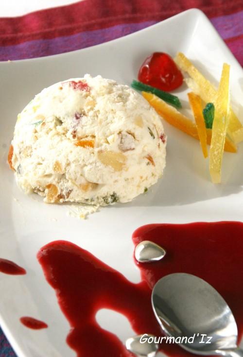 nougat glacé, fruits confits