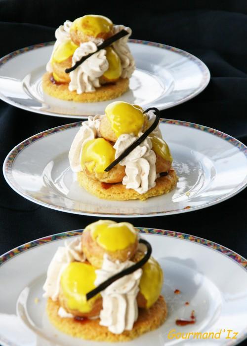 st honoré, choux à la mangue, chantilly, caramel, épices