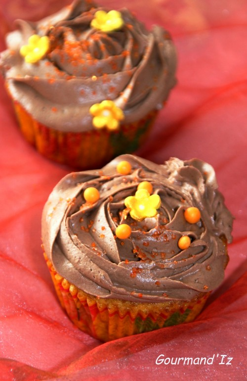 cupcake orange, ganache chocolat orange
