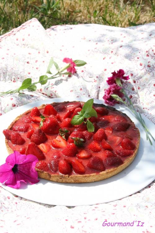 tarte aux fraises, recette de tarte aux fraises, recette sorbet ananas, basilic