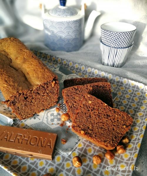 cake, chocolat, noisettes, caramelia