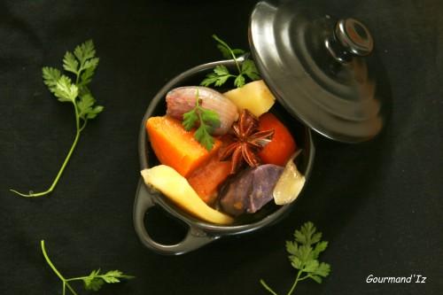 panais, carottes, vitelotte, patate douce, lait de coco, anis étoilé, badiane