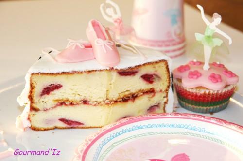 ballerina cake, cake design, tuto chaussons de danses, chocolat blanc, framboises