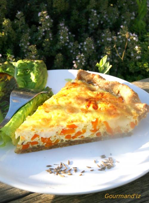 recette de tarte aux légumes, tarte aux carottes, comté, carvi