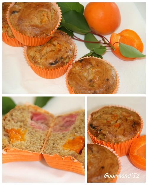 muffins, abricot, rhubarbe