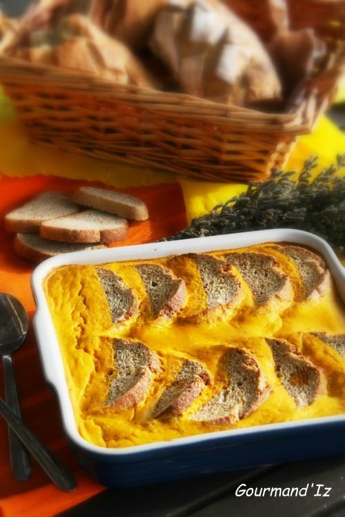 pudding de potimarron, bread pudding salé, potimarron, comté
