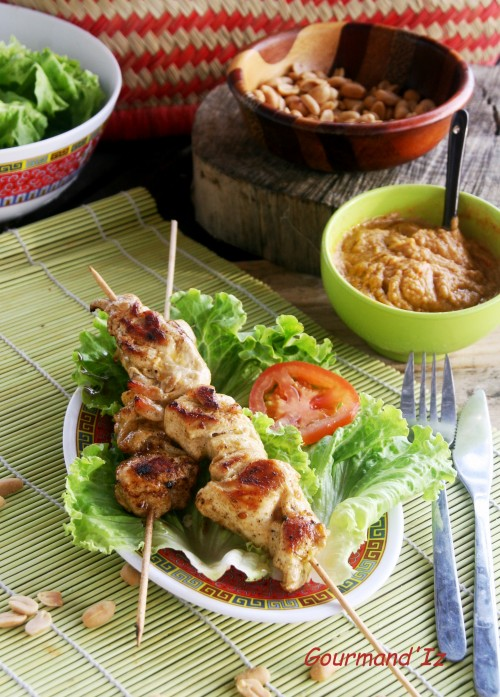 brochettes poulet satay,