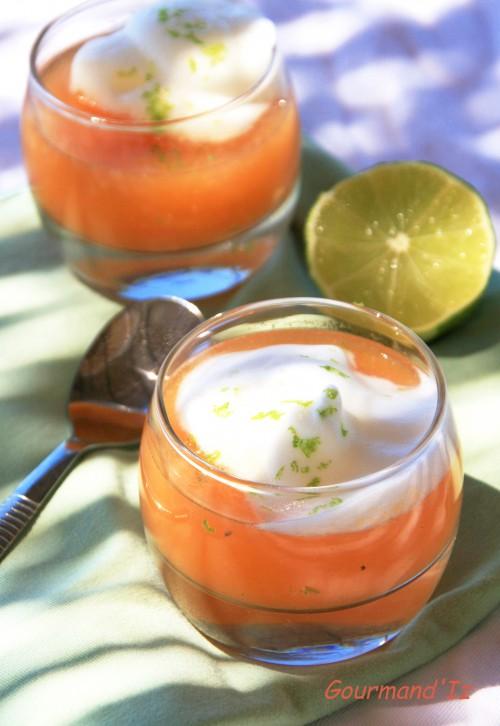 soupe de melon, citron vert, espuma de meringue