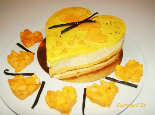 gâteau de fête, entremet mangue passion