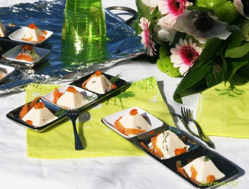 bouchée apéro,bavarois truite,oeufs de saumon,aneth