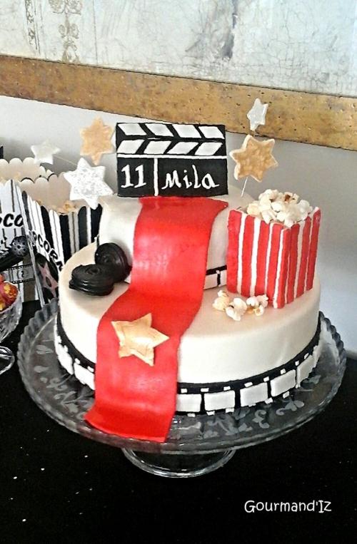 cinema cake design, popcorn cake design, gâteau décoré cinéma, génoise chocolat