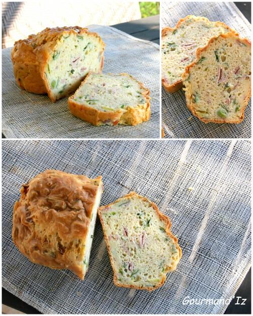 cake salé, poireaux, comté, jambon, crème de soja