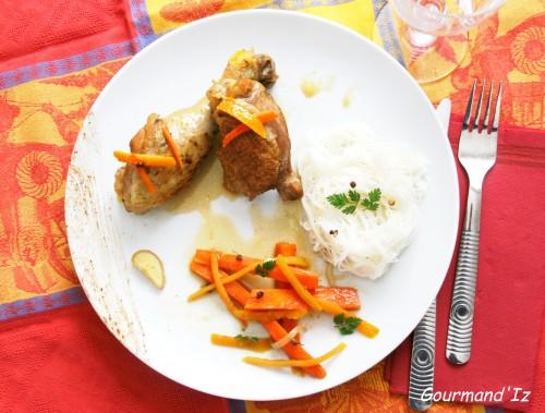 poulet aux agrumes, poulet au gingembre, poulet quatre épices