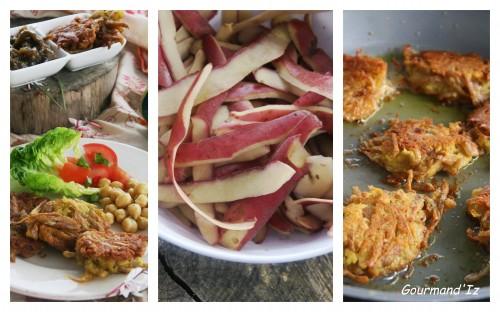 beignets de pomme de terre, cuisiner les épluchures, cuisine économique, un livre à gagner, pois chiches